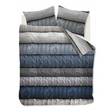 Beddinghouse Benwick Blue grey Katoen-Flanel Dekbedovertrek