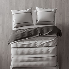 Heckett & Lane Jason Silver Grey Castle Grey Percale-Katoen Dekbedovertrek