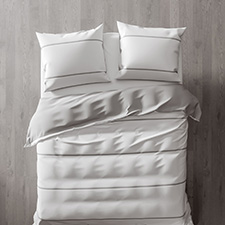 Heckett & Lane Jason White Silver Grey Percale-Katoen Dekbedovertrek