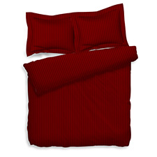 Heckett & Lane Uni Stripe Aurora Red Katoen-Satijn Dekbedovertrek