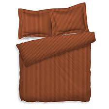 Heckett & Lane Uni Stripe Mecca Orange Katoen-Satijn Dekbedovertrek