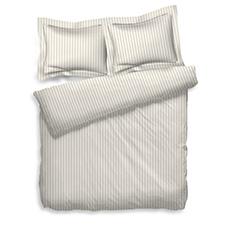 Heckett & Lane Uni Stripe Off White Katoen-Satijn Dekbedovertrek