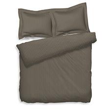 Heckett & Lane Uni Stripe Taupe Grey Katoen-Satijn Dekbedovertrek